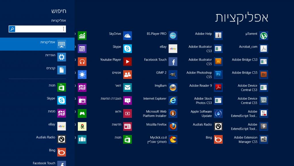 חלוקה לפי סוג החיפוש במערכת ההפעלה Windows 8